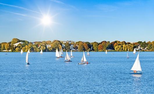 Sailing boats the River Alster - Hamburg