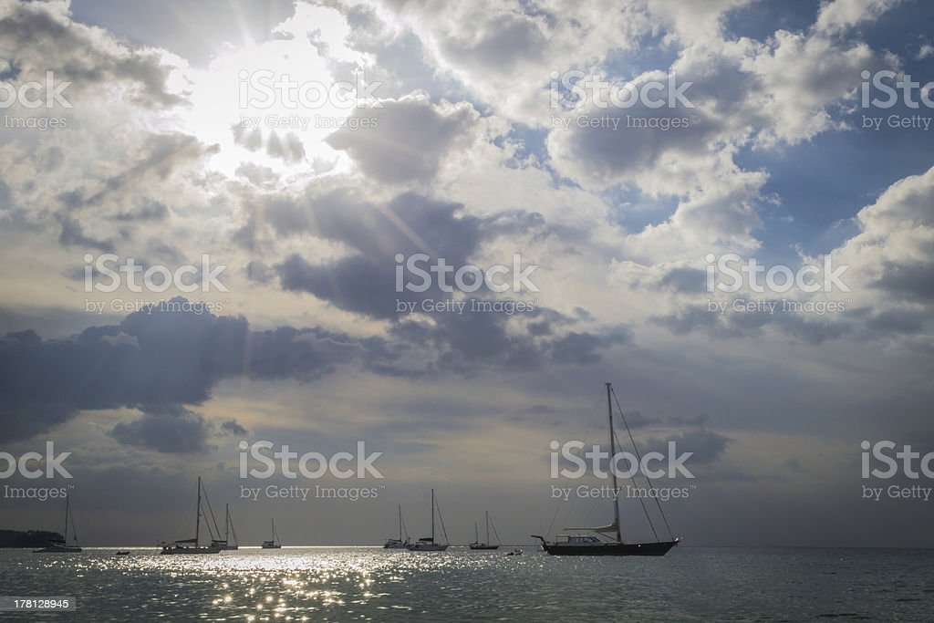 Sailing boats with cloudy sky royalty-free stock photo