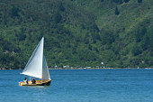 Two boys out sailing a small sailboat.