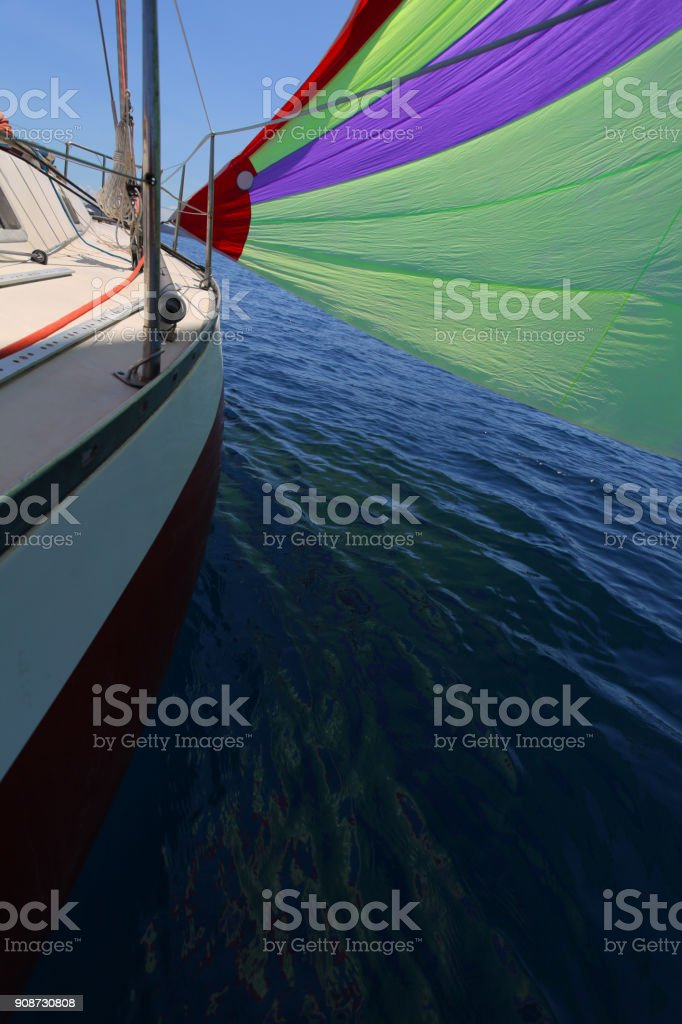 Sailing By Gennaker Sail Stock Photo - Download Image Now