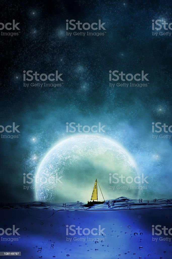 Sailing by moonlight stock photo