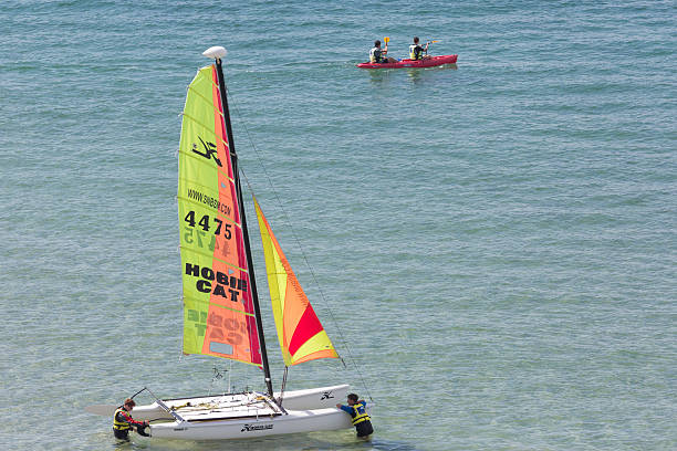 Sailing by Saint Malo stock photo