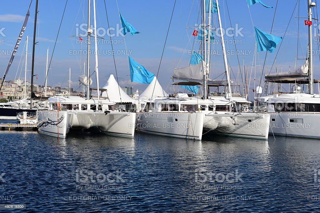 Sailing catamarans at Istanbul Boat Show 2015 stock photo