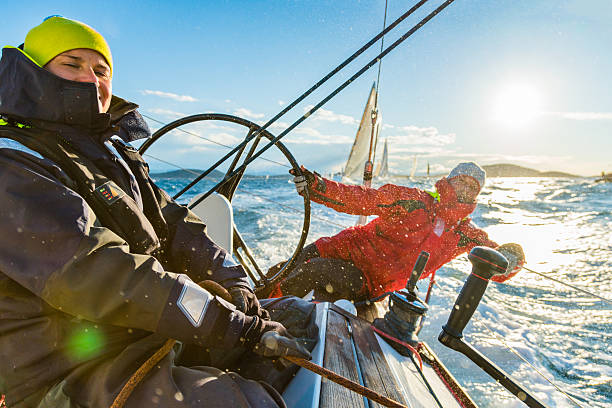 sailing crew on sailboat on regatta - sail stock pictures, royalty-free photos & images