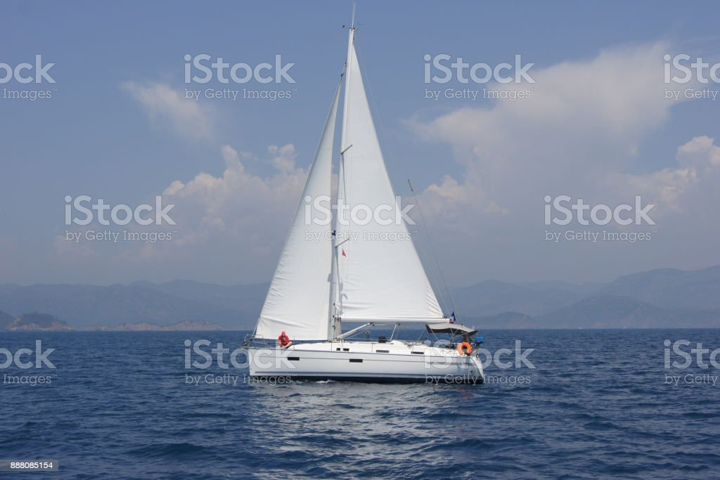 Sailing cruise in Turkey. Bavaria 36. stock photo