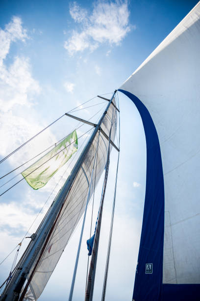sailing emotions sails and the sky. impressions of a sunny sailing day aegis stock pictures, royalty-free photos & images