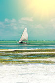 Sailing fishing boat dhow in the ocean by sunny day