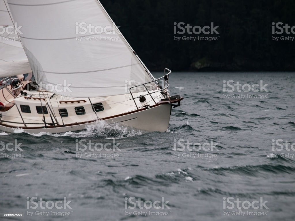 Sailing in a storm. stock photo