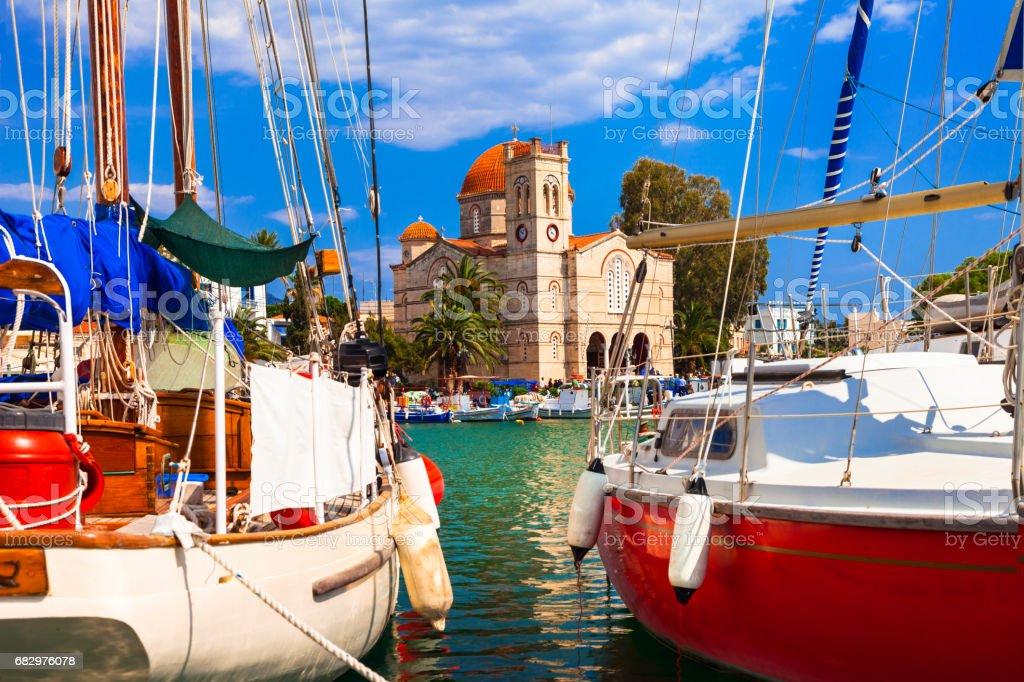 Sailing in beautiful Greek islands- charming Aegina, Saronics stock photo