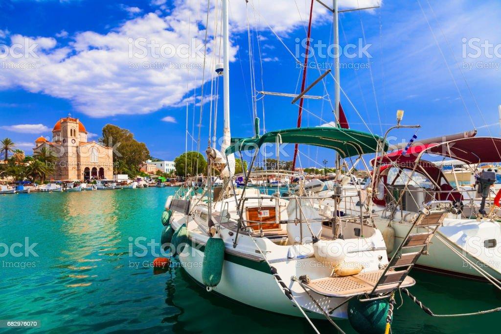 Sailing in beautiful Greek islands - charming tranquil Aegina, Saronics stock photo