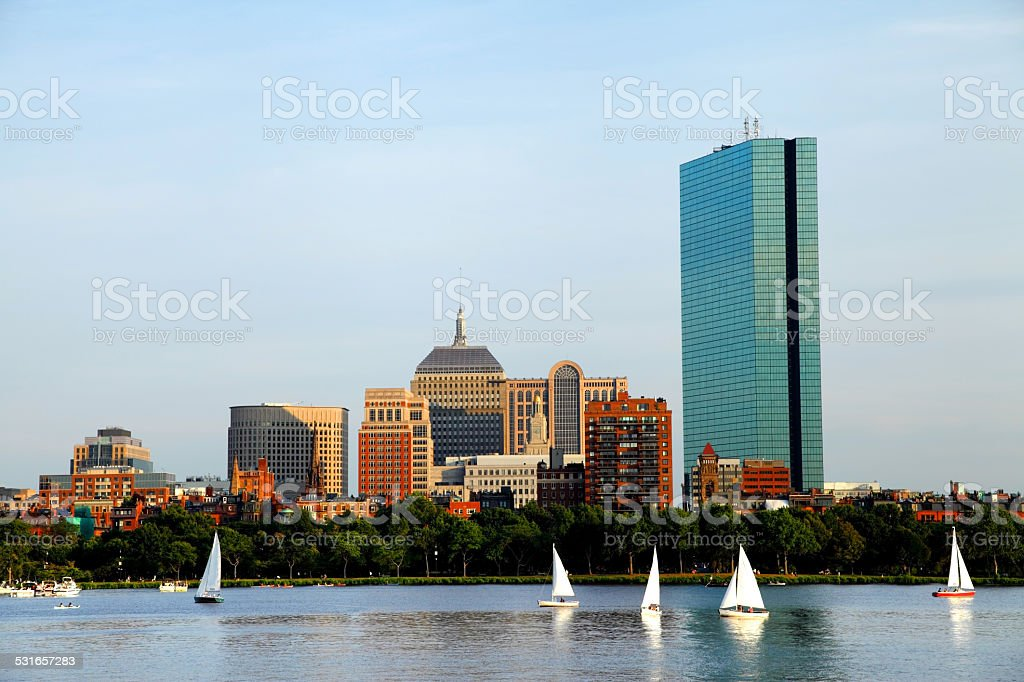 Sailing in Boston stock photo