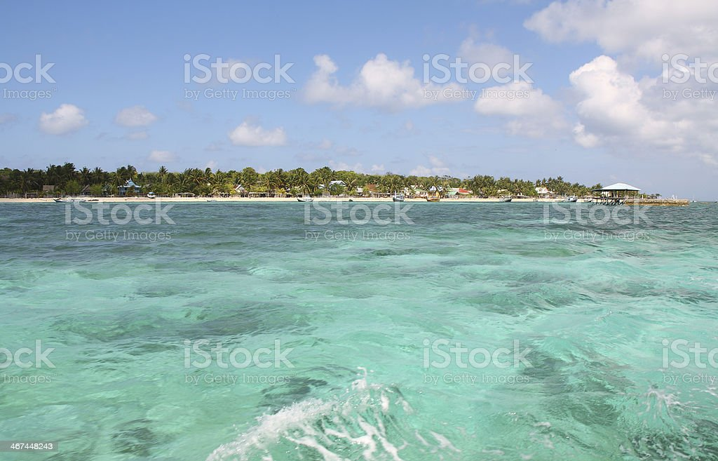 Sailing in clears waters from Bira beach stock photo