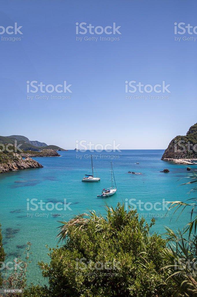 sailing in corfu greece stock photo