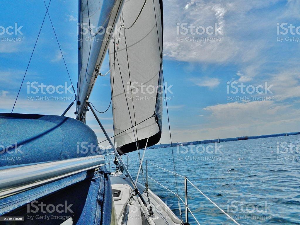 Sailing in lake Ontario waters. stock photo