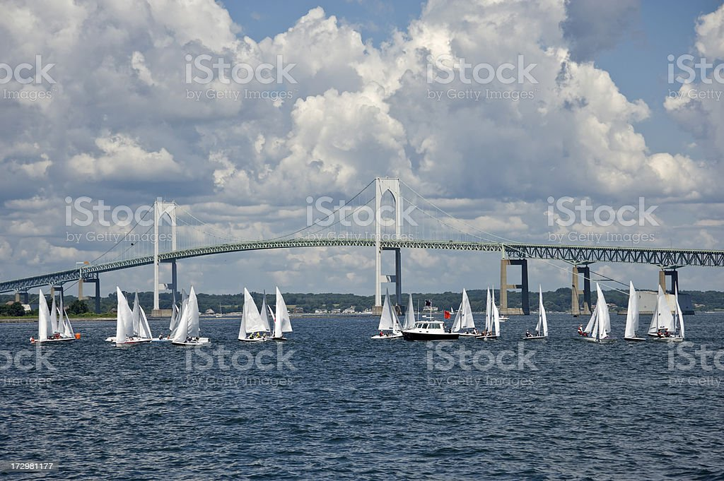Sailing in Newport Rhode Island stock photo
