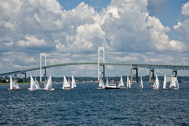 Sailing in Newport Rhode Island stock photo