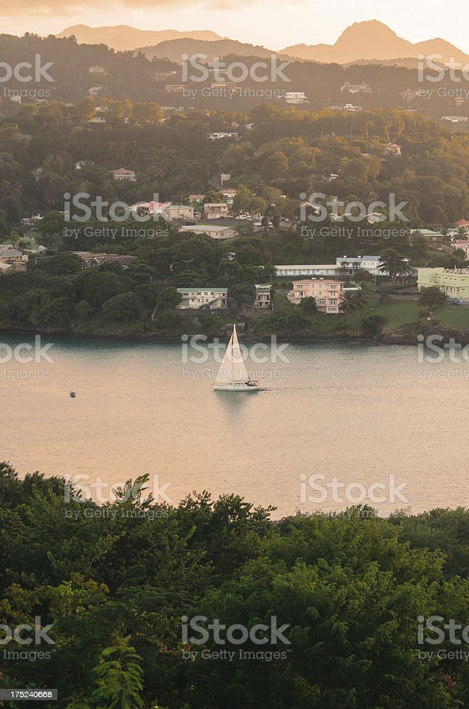 sailing in serene waters and residential coast stock photo