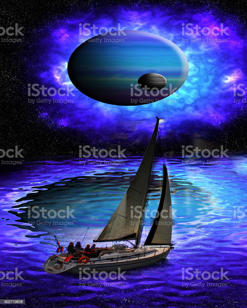 Sailing in space. stock photo
