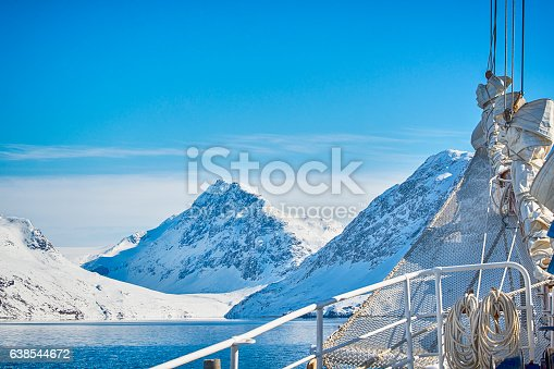 View from bord of a large sailship into the arctic ocean in South Western Greenland.