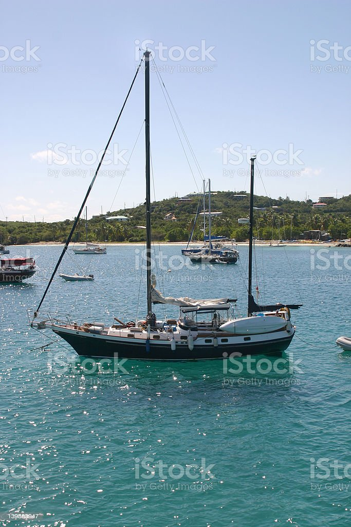 Sailing in the Caribbean stock photo