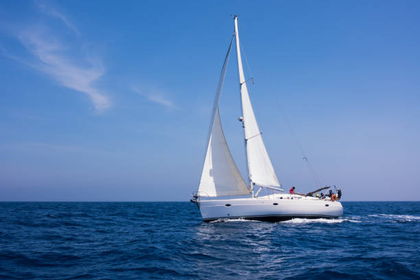 Sailing in the dusk in the Aegean sea, Greece stock photo
