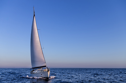 Sailing In The Dusk In The Aegean Sea Greece Stock Photo - Download Image Now