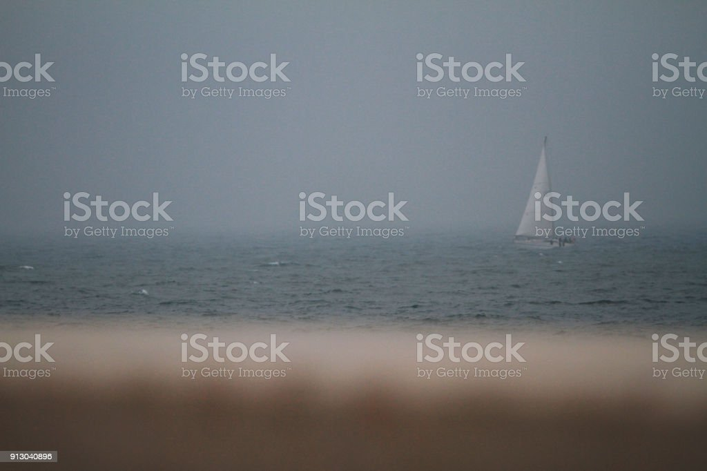 sailing in the fog - Adriatic Sea stock photo