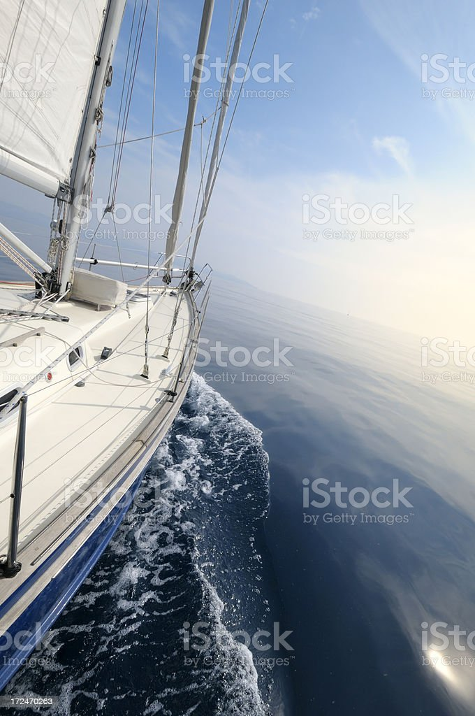 Sailing in the open sea royalty-free stock photo