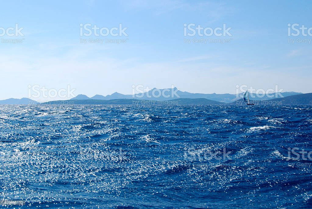 Sailing in the stormy sea stock photo