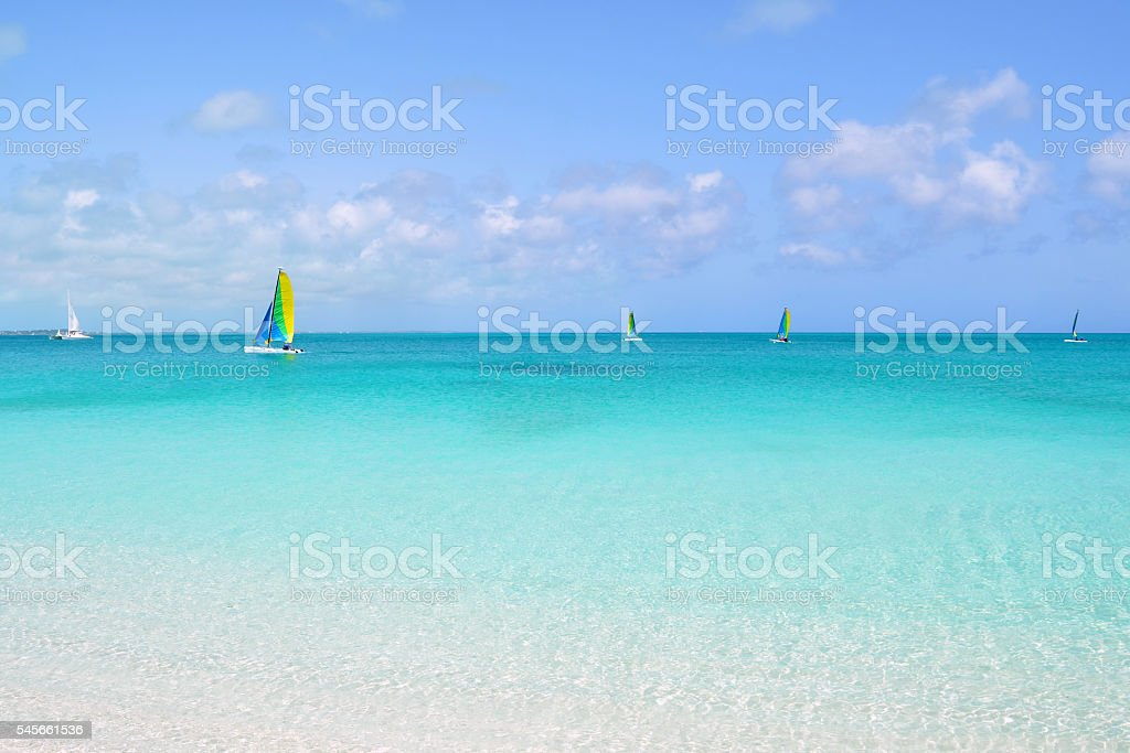 Sailing in the Turks and Caicos Islands stock photo