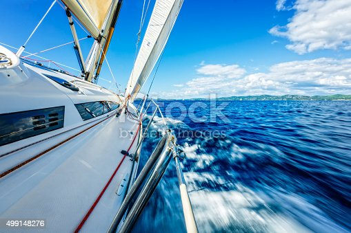 istock Sailing in the wind with sailboat 499148276