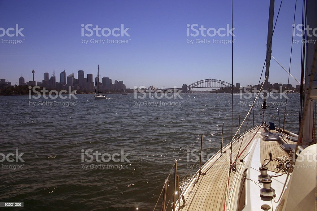 sailing into the harbour royalty-free stock photo
