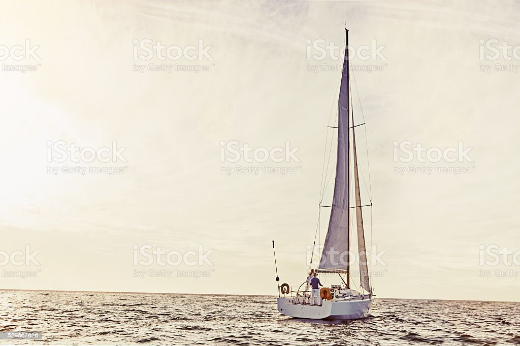 Sailing is exciting and fun stock photo
