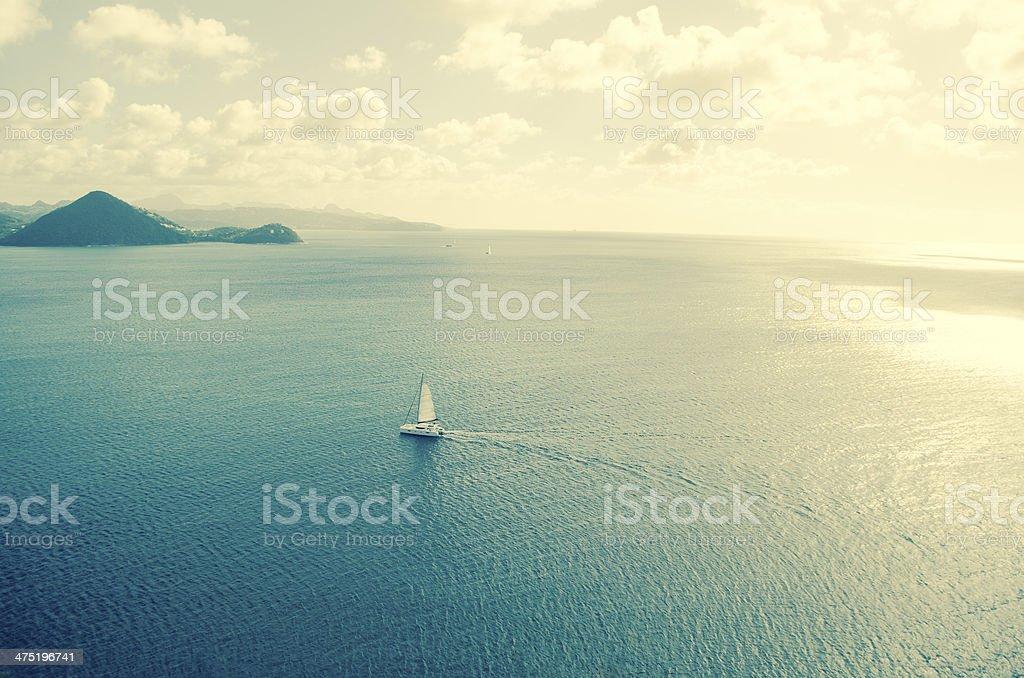 Sailing landscape stock photo