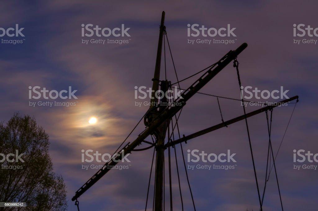 Sailing mast at night royalty-free stock photo