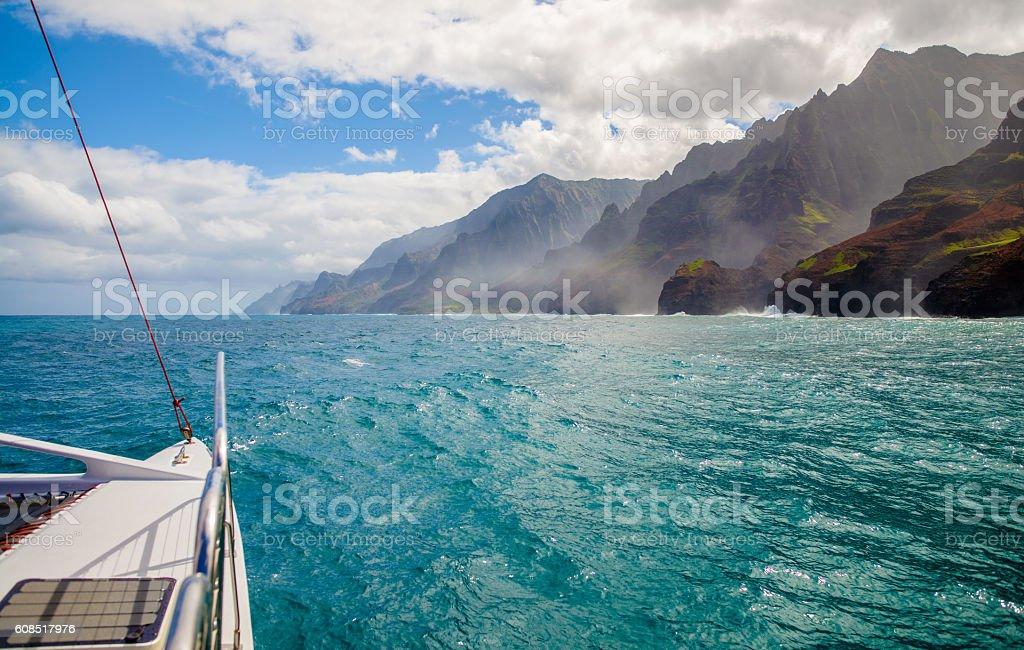 sailing, napali coast, kauai, hawaii stock photo