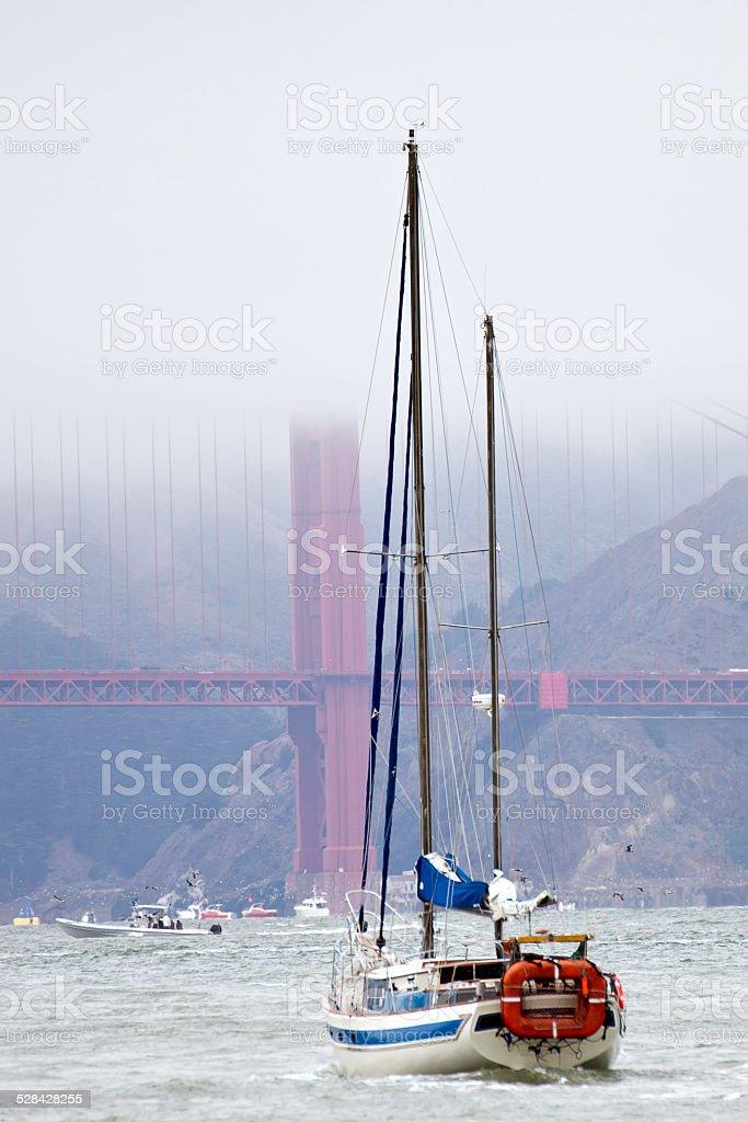 Sailing near the Golden Gate Bridge, San  Francisco, California stock photo