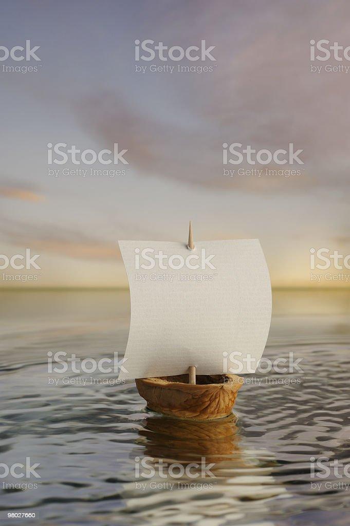 Sailing nutshell boat . royalty-free stock photo