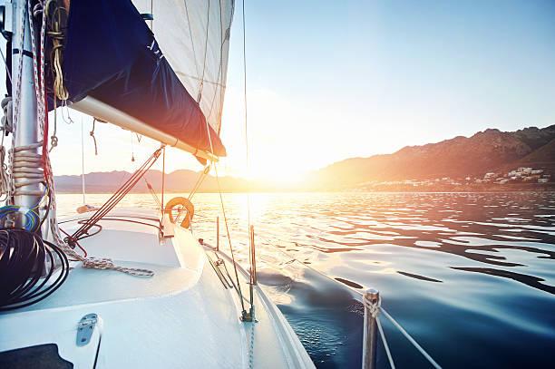 sailing ocean boat stock photo