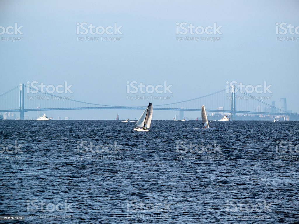 Sailing off Atlantic Highlands stock photo