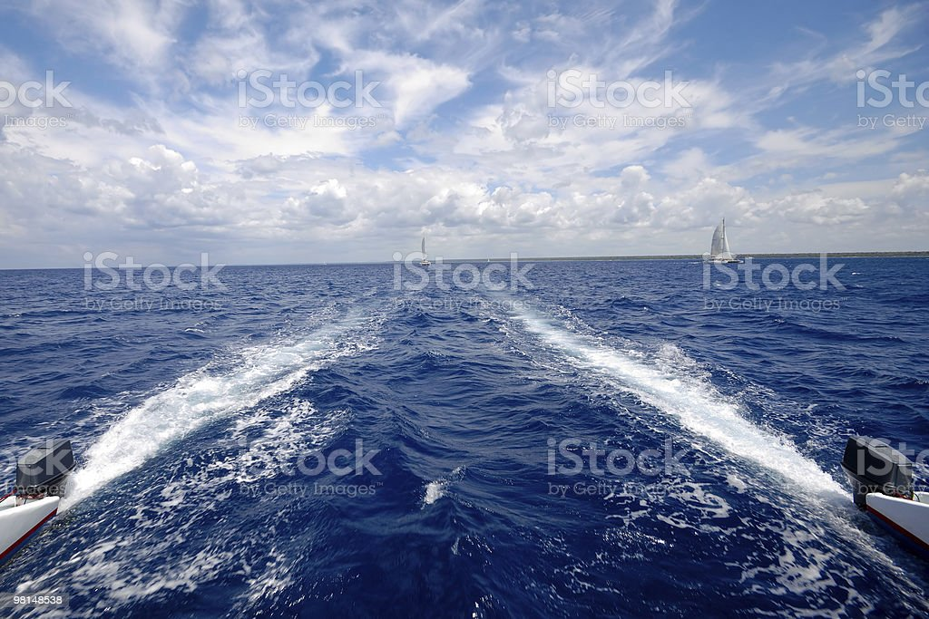 Sailing on a catemaran royalty-free stock photo
