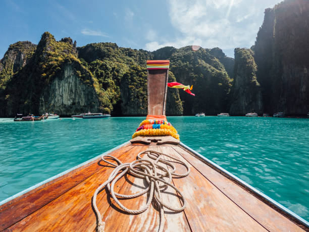 Sailing on a longtail boat in Thailand, Phi Phi Island stock photo