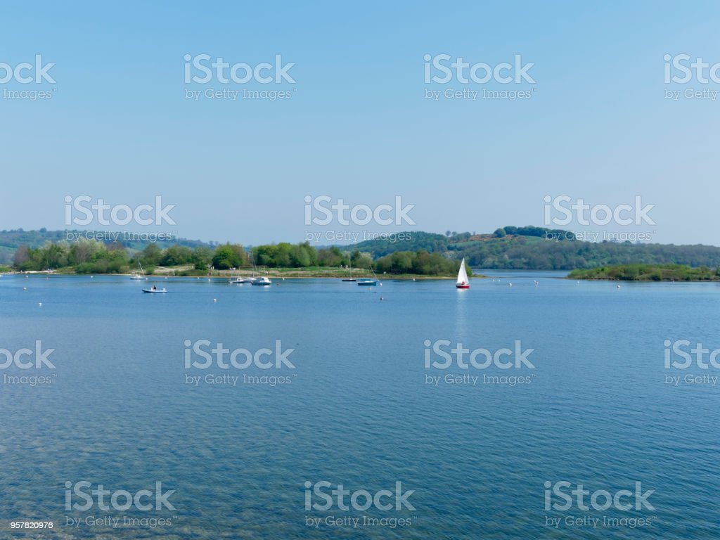 Sailing on Carsington Reservoir stock photo