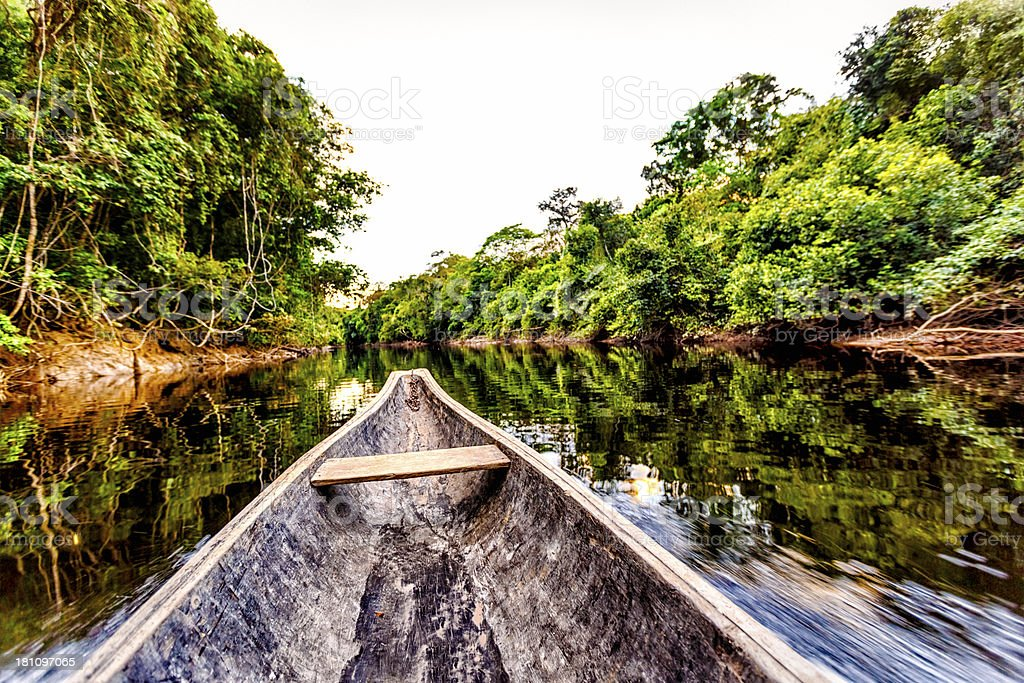Sailing on Indigenous wooden canoe in the Amazon state Venezuela stock photo