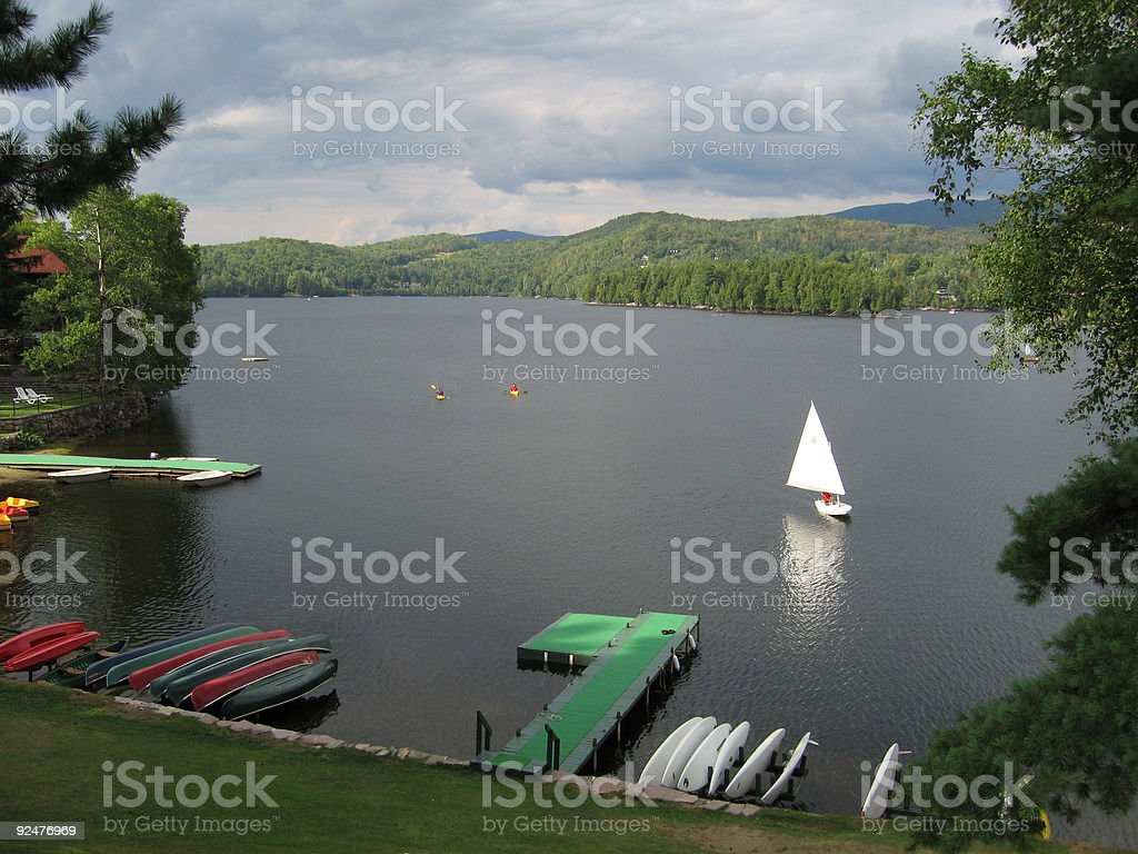 Sailing on Lake in Quebec, Canada royalty-free stock photo