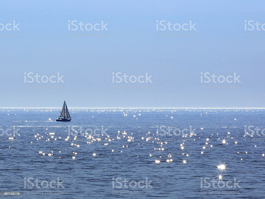 Sailing on Lake Michigan stock photo