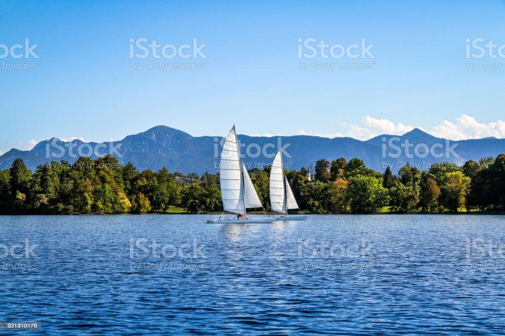 Sailing on Lake Staffelsee, Upper Bavaria, Germany stock photo