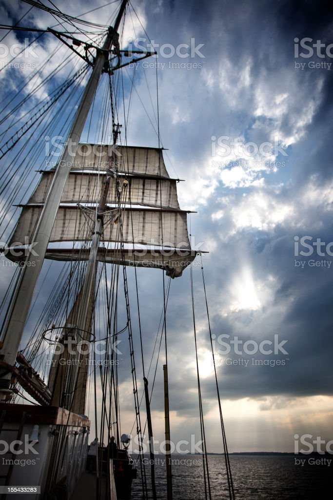 Sailing on the Baltic Sea at dusk stock photo