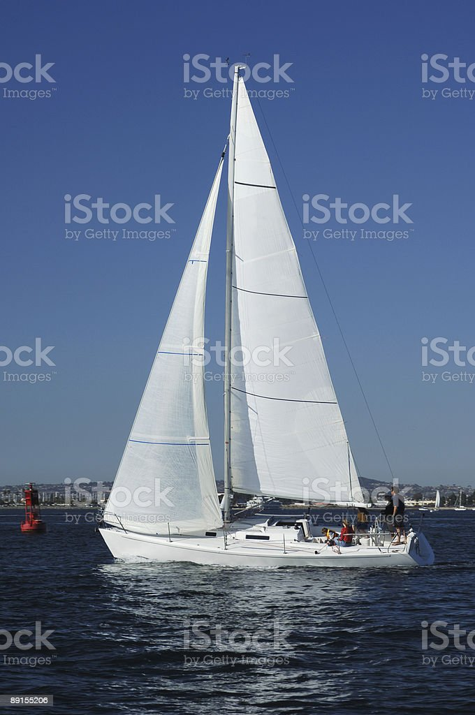 sailing on the bay royalty-free stock photo