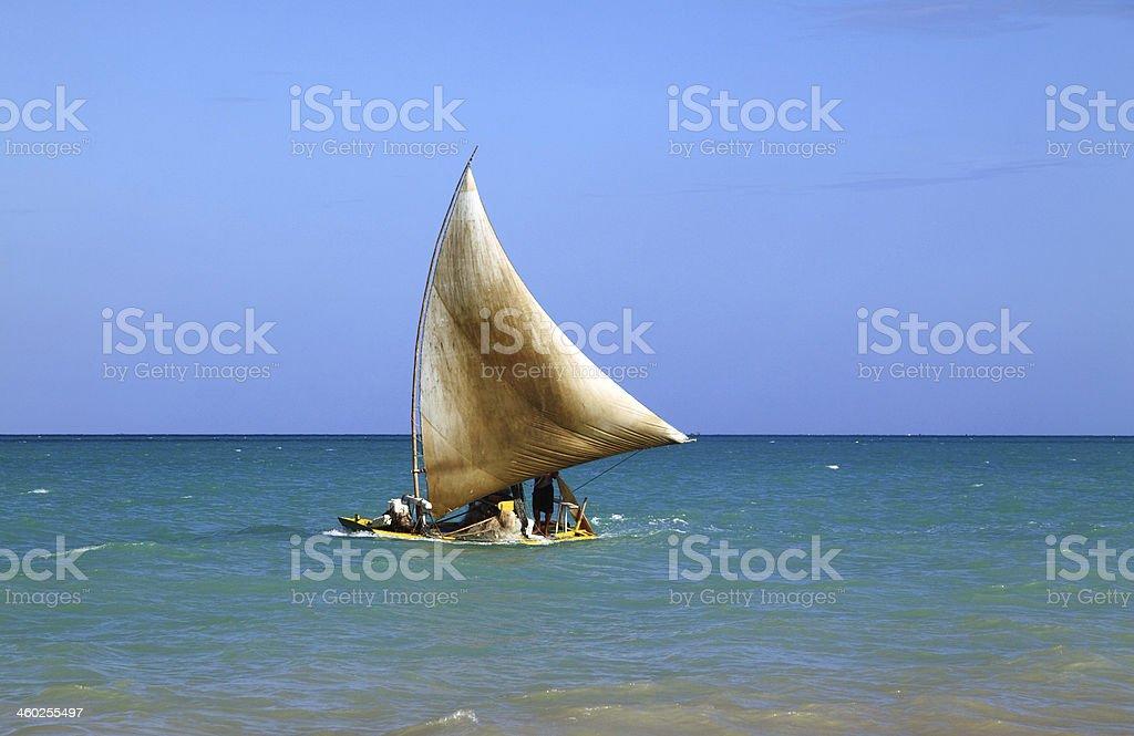 Sailing on the blue. Maceio, Brazil. stock photo
